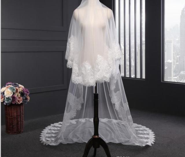 Best Selling  Meters One Layer Long Cheapest Chapel Length White Ivory Bridal Veil Lace Appliques  Veu De Noiva Longo Wedding Veil Diy Wedding Veil