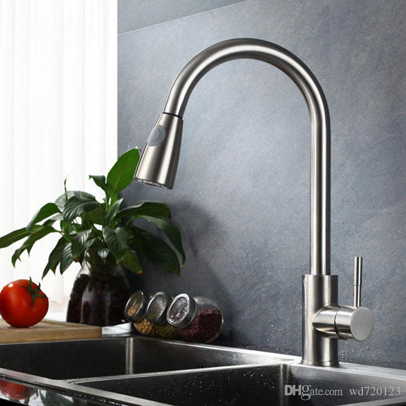 brushed nickel kitchen faucet with sprayer lowes delta faucets pull out single hole swivel sink mixer tap online