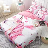 Unicorn Floral Cartoon Bedding Set Pink Girl Cute Duvet