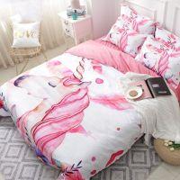Unicorn Floral Cartoon Bedding Set Pink Girl Cute Duvet ...