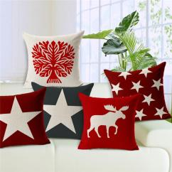 Chair Cover Rentals Red Deer Best Folding Stylish Cushion Head Throw Pillow Christmas Gift Farmhouse 17 7 Moose Cotton Linen Home Funda De Cojines White Dining Slipcover
