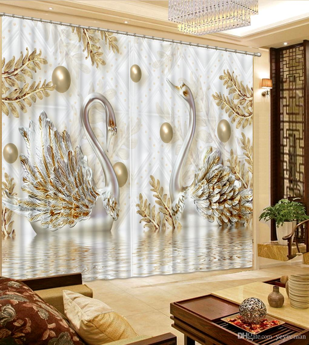 window curtains living room best behr paint colors modern 3d embossed swan curtain fresh shade for kids bedroom drapes home decor canada 2019 from yeyueman