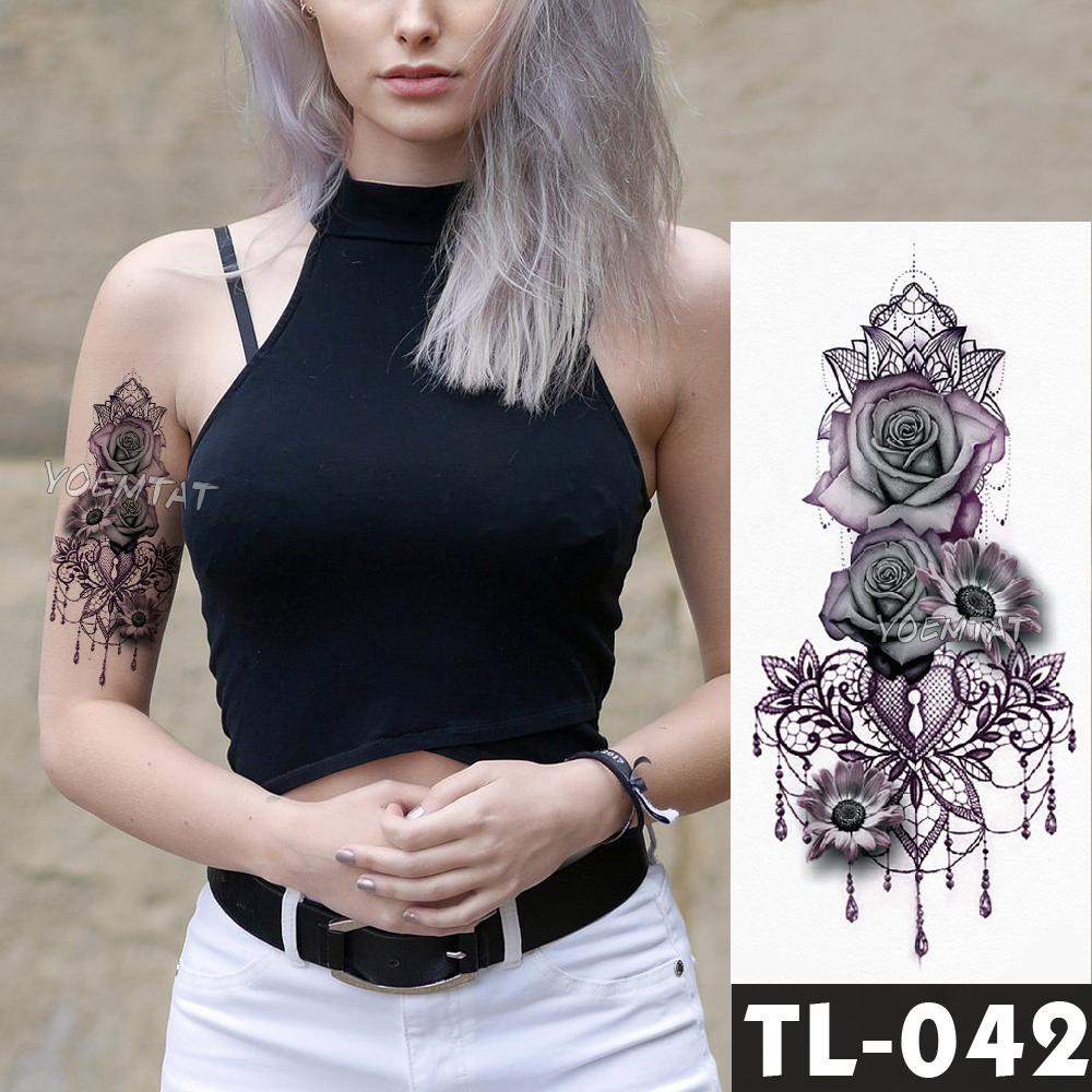 Fake Tatuajes Temporales Pegatinas Flores De Rosas Oscuras Hombro