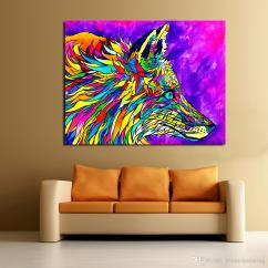 Paintings For Living Room Wall Small Decorating Ideas Indian Homes Colorful Wolves Oil Painting Picture On Canvas Modern No Frame Canada 2019 From Framedpainting Cad 31 10 Dhgate