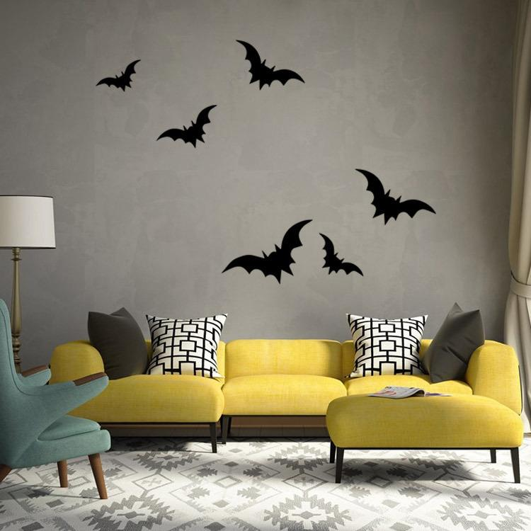bat living room red and black halloween wall stickers bedroom background decoration kids decals from shylinfashionshop
