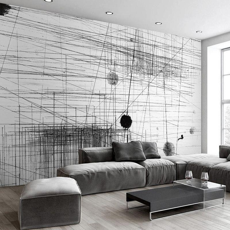 black and white wallpaper ideas for living room style 2017 mural stripes lines abstract art wall painting sofa tv backdrop 3d photo paper changer computer
