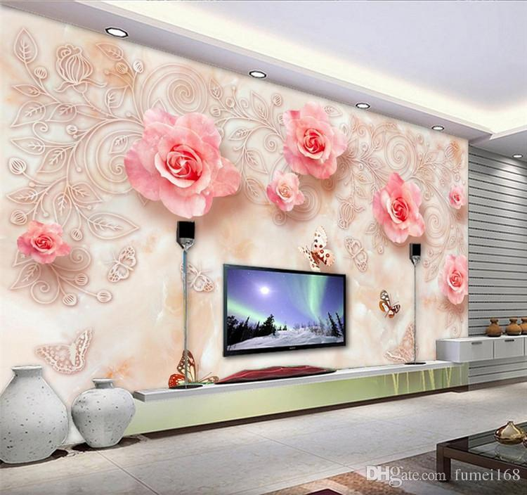 wallpaper living room wall clock antique pink rose floral mural for papers home decor 3d landscape murals wallcoverings canada 2019 from fumei168