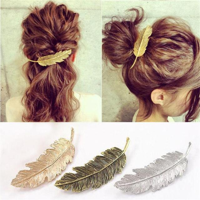 women gold/silver leaf feather hair clip hairpin barrette bobby pins hair 1pc