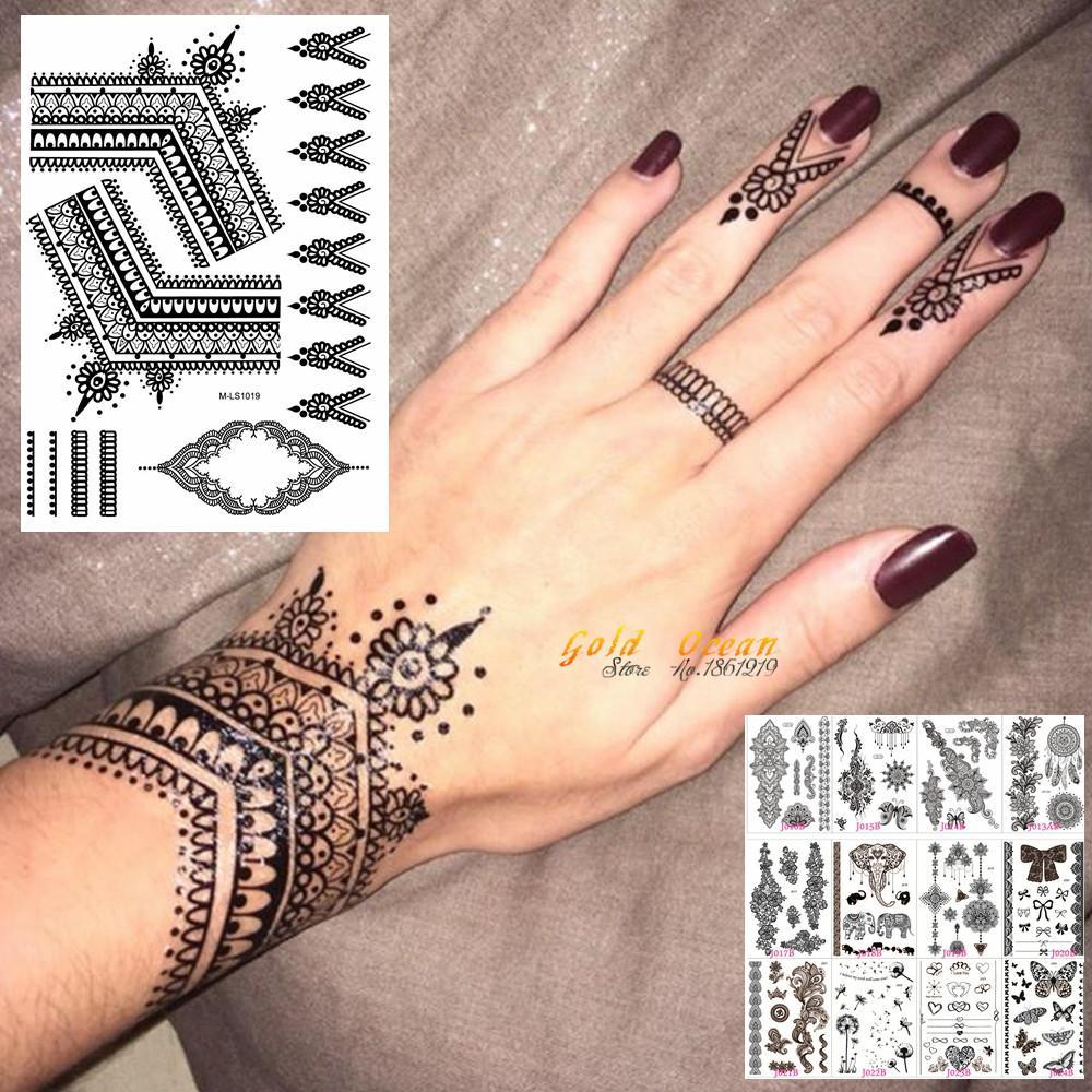 25 Estilos Sexy Encaje Negro Henna Etiqueta Engomada Del Tatuaje