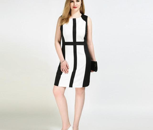 Fat Women Work Dress Black And White Patchwork European Style Big Ass Plus Size Slinky Pencil Dress Sleeveless Dress Style For Women Pretty Dresses From