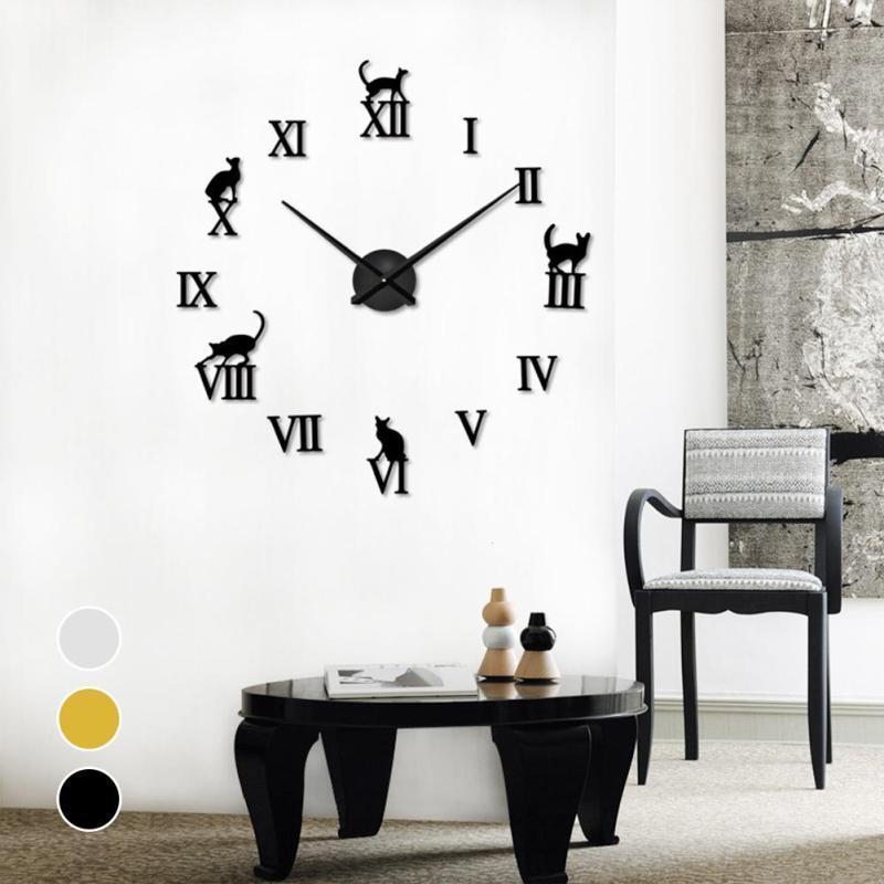blue kitchen wall clocks knives reviews 3d mirror diy cat letters quartz needle clock modern design home decorative large watch horloge s3