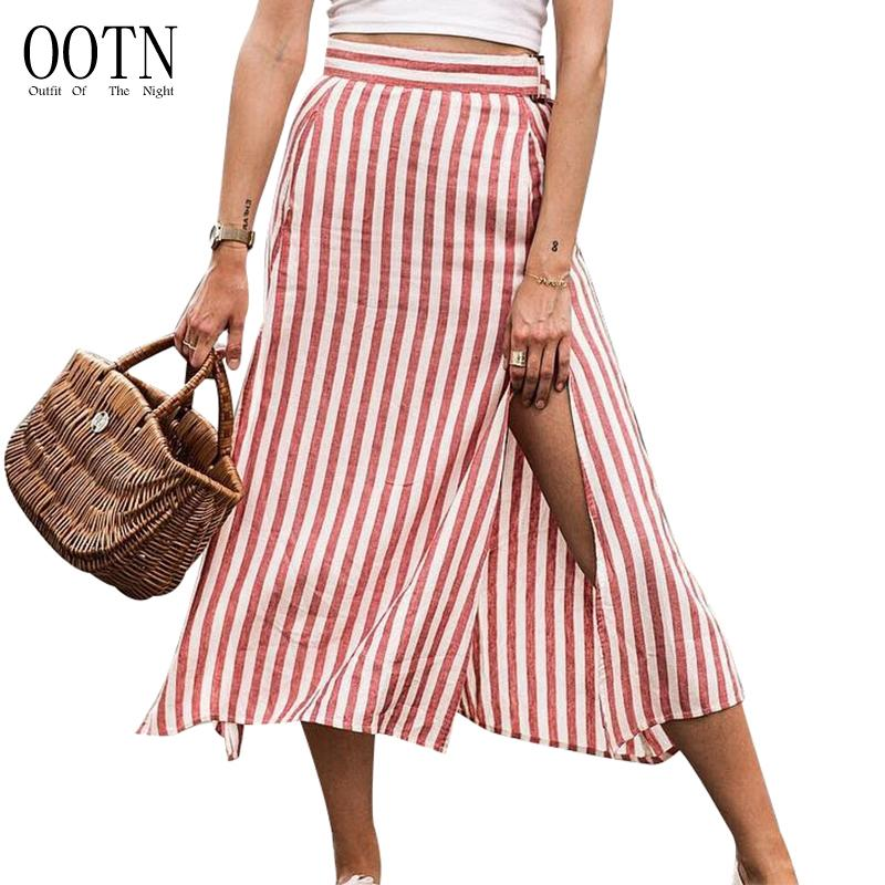 Ootn Rot Weiß Gestreifte Hohe Taille Röcke Frauen Split Sexy Lange Röcke Weiblichen Büro Midi Rock Reißverschluss Damen Lässige Mode 2018