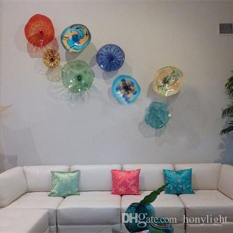 Modern Flower Plates Wall Art Colorful Tiffany Style Blown