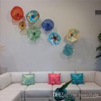 Modern Flower Plates Wall Art Colorful Tiffany Style Blown
