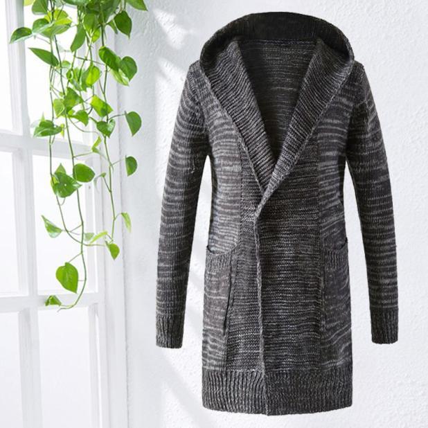 Men S Hooded Cardigan Knit Jacket Sweater Long a39388abf