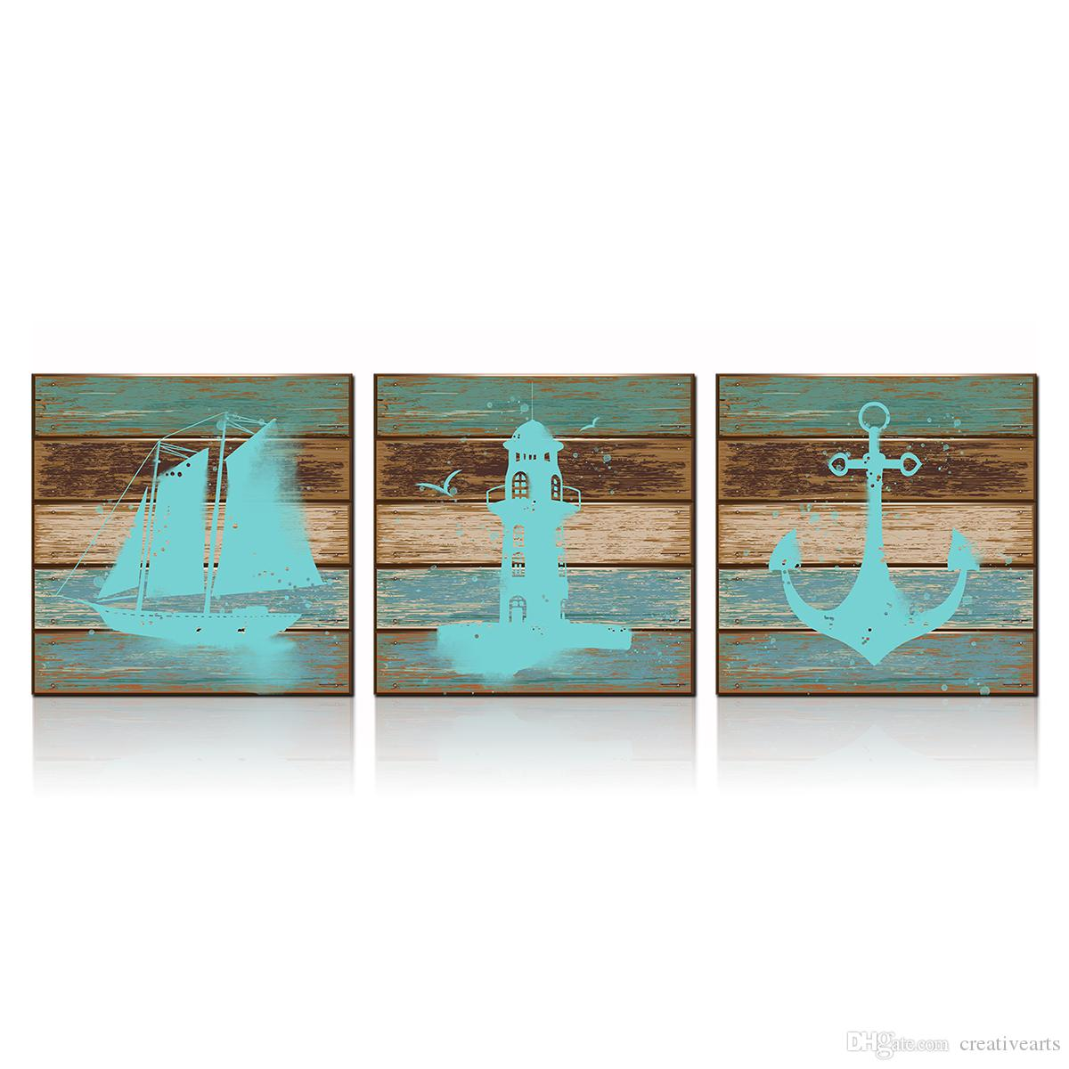 3 Piece Seascape Canvas Wall Art Lighthouse Anchor Sailingboat Pictures For Bathroom Decor 12 X12 X3pcs