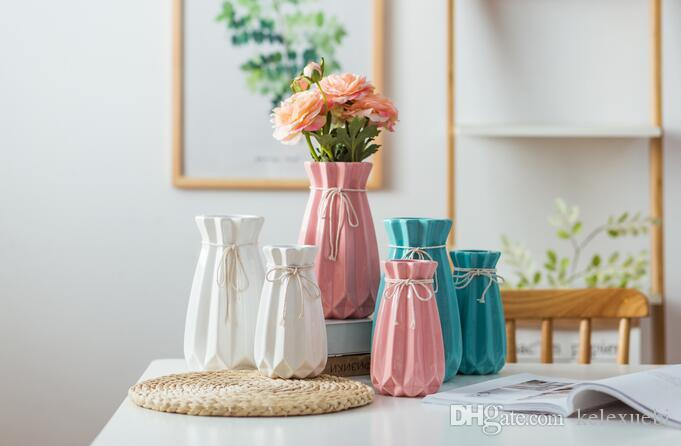 living room flower vases paint colors with white trim ins hot selling hemp rope decorative ceramic decorations handicrafts pink blue big floor home decor