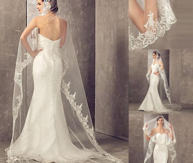 Best Selling  Meters Long Cheapest Chapel Length White Ivory Bridal Veil Lace Appliques  Veu De Noiva Longo Wedding Veil Cpa Diy Birdcage Veil Diy