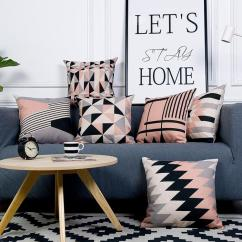 Decorative Accent Pillows Living Room Bench Plans Pink Throw Case Nordic Cushion Gray Geometric Cushions Cover Home Decor Linen Chair Pillowcase For Sofa 45x 45 Cool Kid