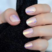 unicorn chrome press fake nails