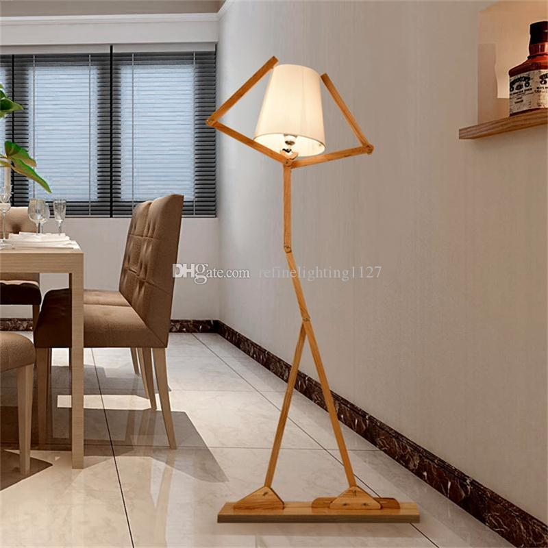 standing lights for living room wall color as per vastu nordic creative wooden floor lamps e27 log fabric stand cheap custom wholesale floors best bath door mats