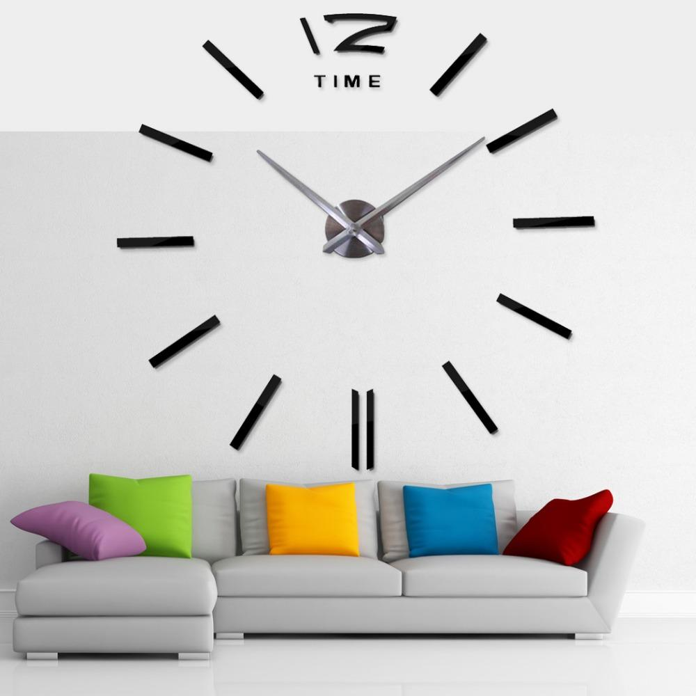 big wall clocks for living room table with storage 2018 hot selling 3d real clock rushed mirror sticker diy decor large 30 inch