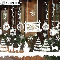Merry Christmas Window Decorations Santa Claus Deer ...