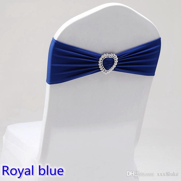 Royal Blue Colour Wedding Chair Sash With Heart Buckle