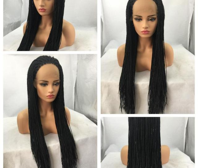 Best Quality B Black Twist Braiding Long Wigs Cheap Box Braided Glueless Synthetic Heat Resistant Lace Front Wigs For Black Women Cool Wigs Wig Buy From