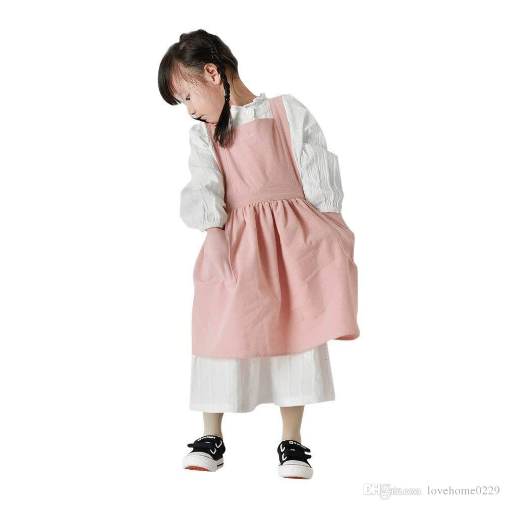 kitchen apron for kids toy kitchens children cotton artist painting aprons water resistant with 2 pockets uniform cooking baking chefs child