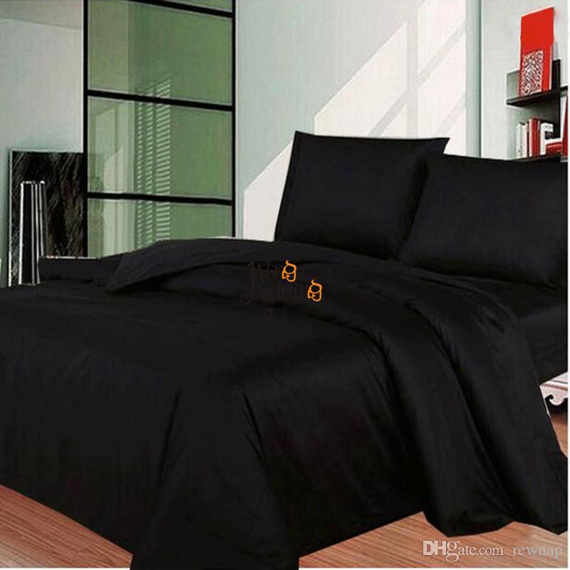 vente en gros ensemble de literie noir moderne au uk us simple double reine king size 3pcs lit housse de couette drap de lit linge taies d oreiller