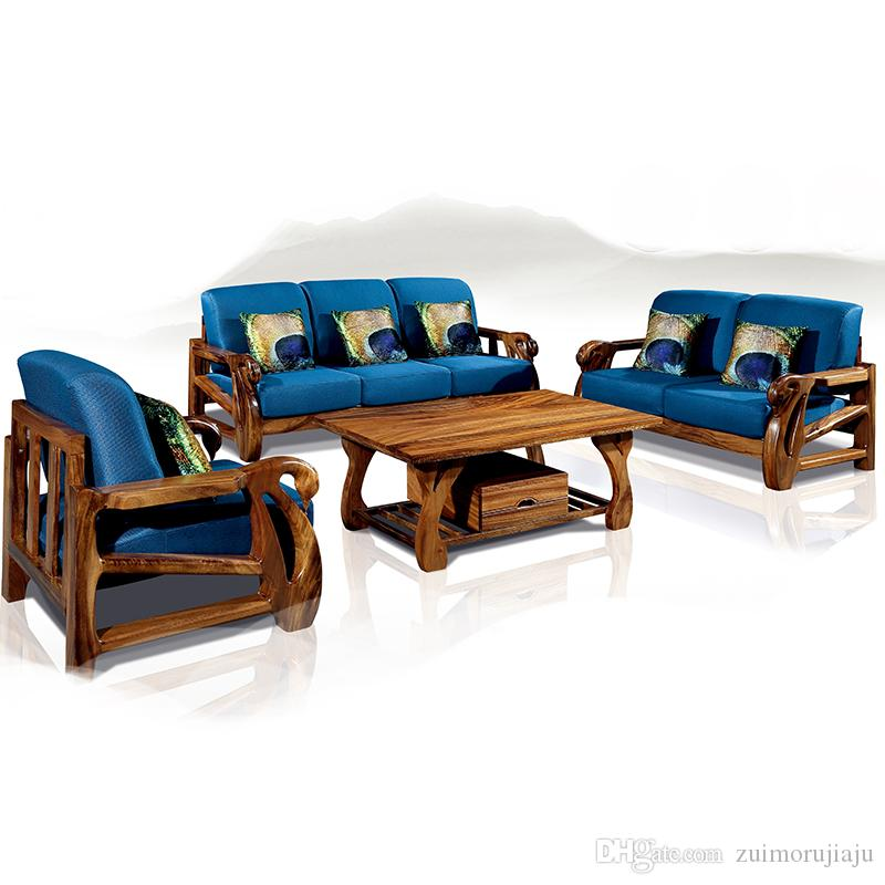 wood frame living room furniture interior design ideas for small rooms india solid sofa combination new chinese wooden fabric green heart sandalwood canada 2019 from zuimorujiaju