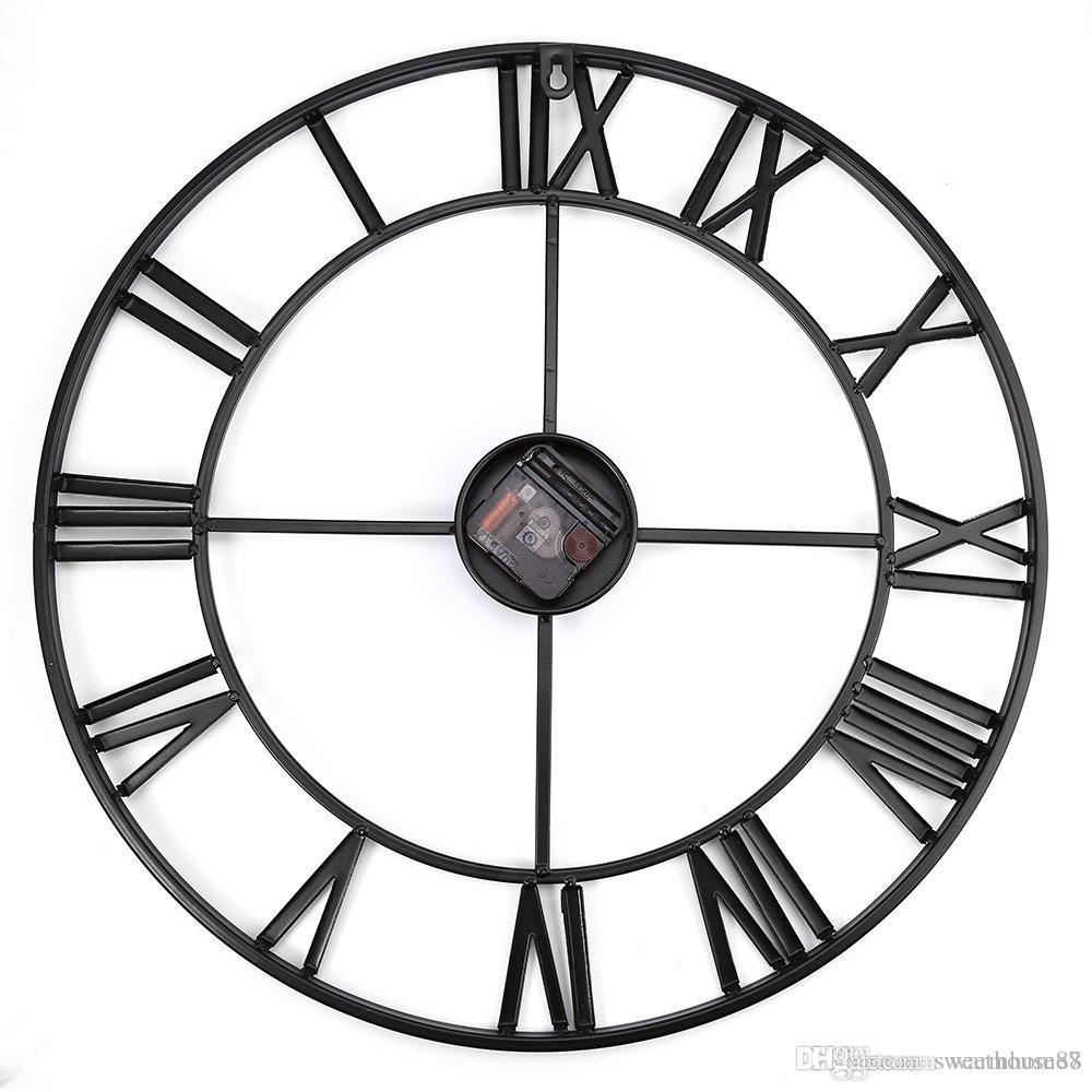 acheter 3d fer retro decoratif horloge murale grand art gear chiffres romains horloges murales conception l horloge sur le mur 18 5 pouces surdimensionne