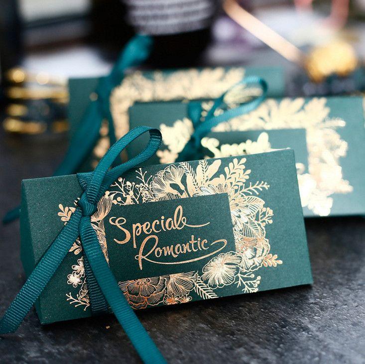 Diy Dark Green Wedding Gift Box Birthday Cookies Box Happy Party