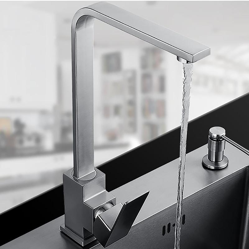kitchen faucets stainless steel cost of remodeling a 2019 square design faucet mixer sink surface brushed water tap from lilingainiqi 142 53 dhgate com