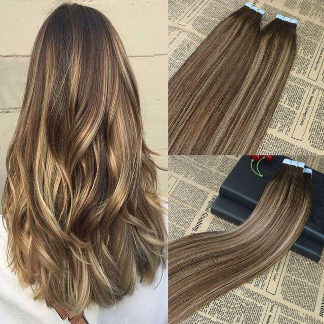 100% echthaar klebeband in extensions balayage highlighted tape auf remy haarverlängerungen omber brazilian hair extensions 100g / 40st
