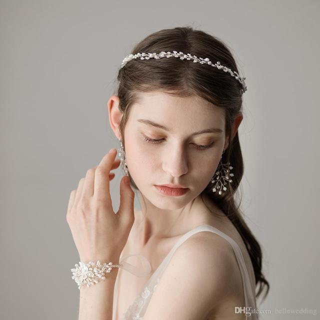 2018 wedding headbands with fresh water pearls women hair jewelry wedding tiaras headbands bridal hair accessories #hp364
