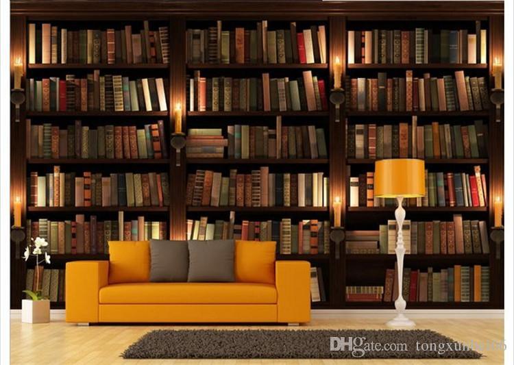 acheter personnalise photo papier peint 3d style europeen retro canape tv fond papier peint mural mur bibliotheque livres bibliotheque murale papier
