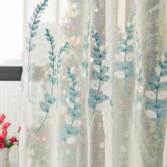 White Curtains For Living Room With Black Leather Furniture Pastoral Blue Leaves Embroidery Tulle Window Curtain Cheap New York Best Designs Blouses