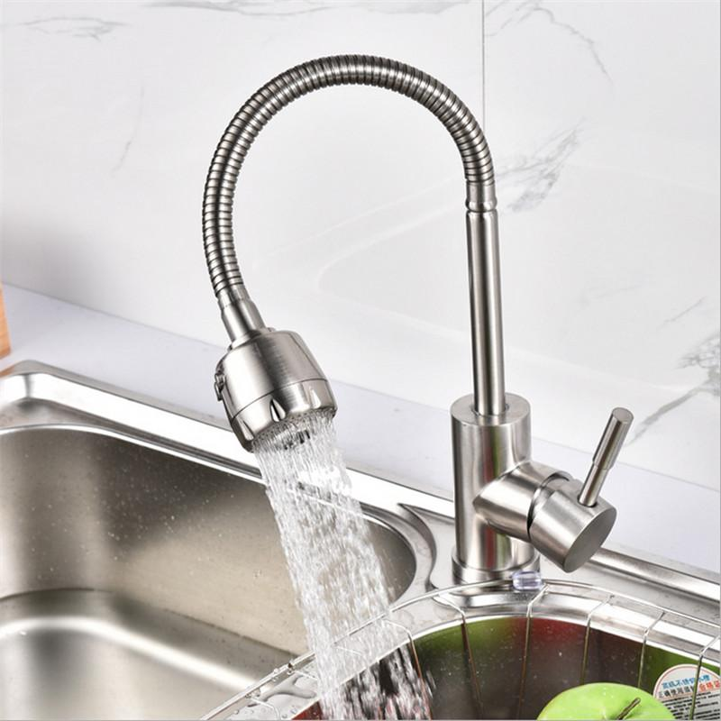 stainless steel kitchen faucets wooden clock 2019 304 faucet mixer 360 swivel spout single handle sink tap basin wall from almondor 60 41 dhgate com