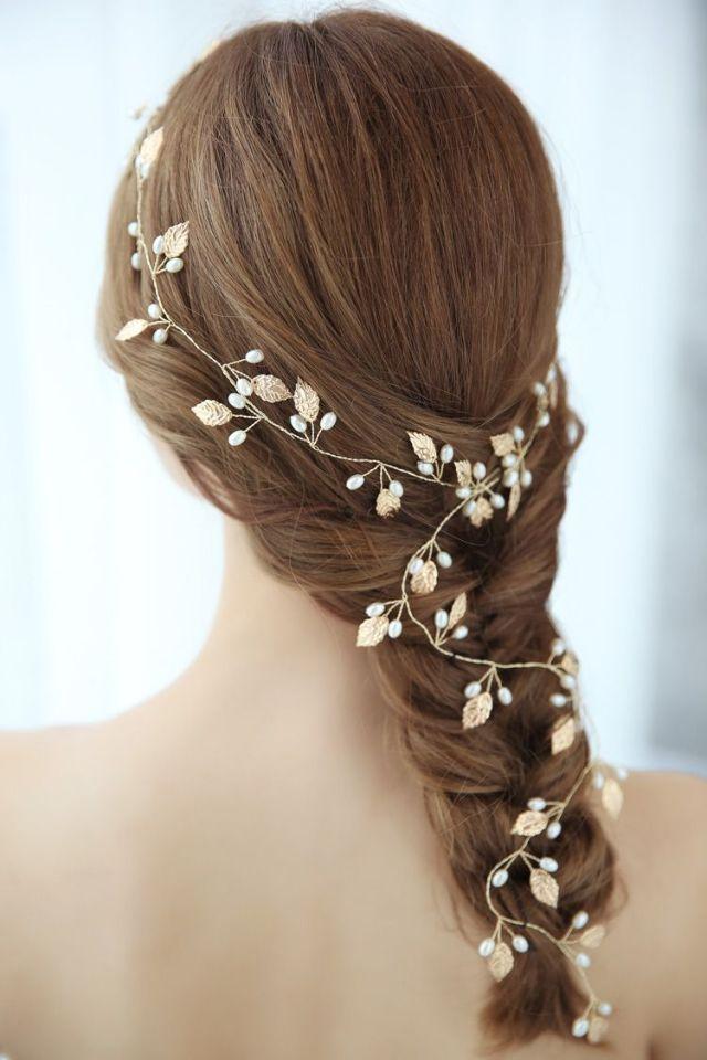 boho gold leaf bridal long hair vine wedding headband pearls hair jewelry handmade women prom headpiece accessories