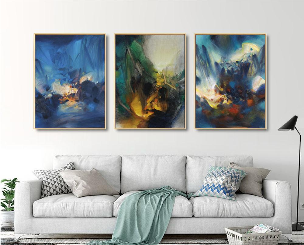 framed artwork for living room 3 pc sofa sets 2019 scenery watercolor picture on canvas bright light art painting jpg