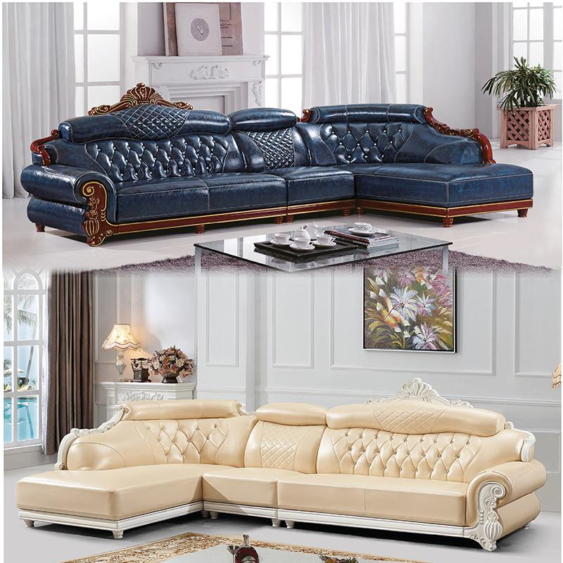 living room wooden sofa furniture making shelves for leather small apartment corner chaise longue solid wood top layer cowhide combination canada 2019 from guohujiaju