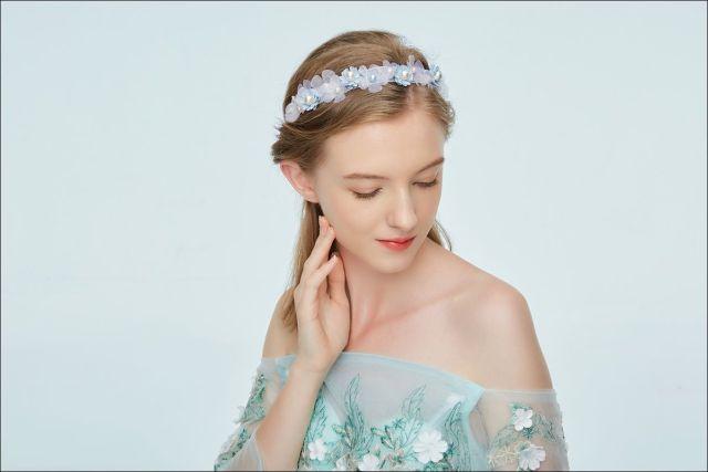 hair accessories blue flower crystal bridal headband pearl floral beach wedding tiara hair jewelry headpiece party