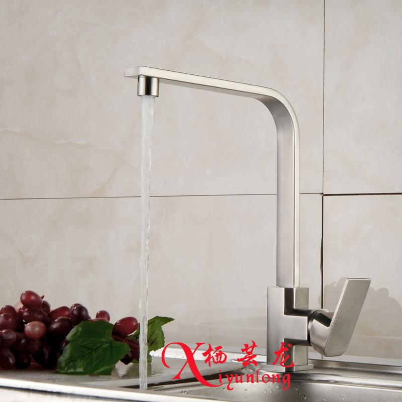kitchen faucets stainless steel island with stove top basin chrome silver crane faucet square single handle rotation deck mount sink taps hot cold canada 2019 from donaold