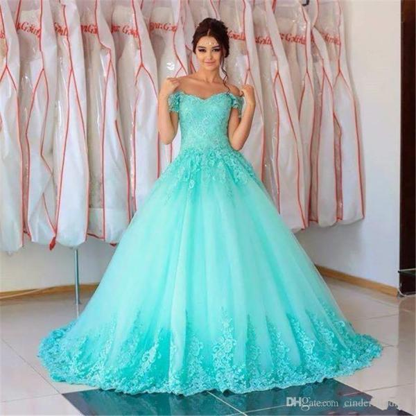 2018 Gorgeous Turquoise Quinceanera Ball Gown Dresses