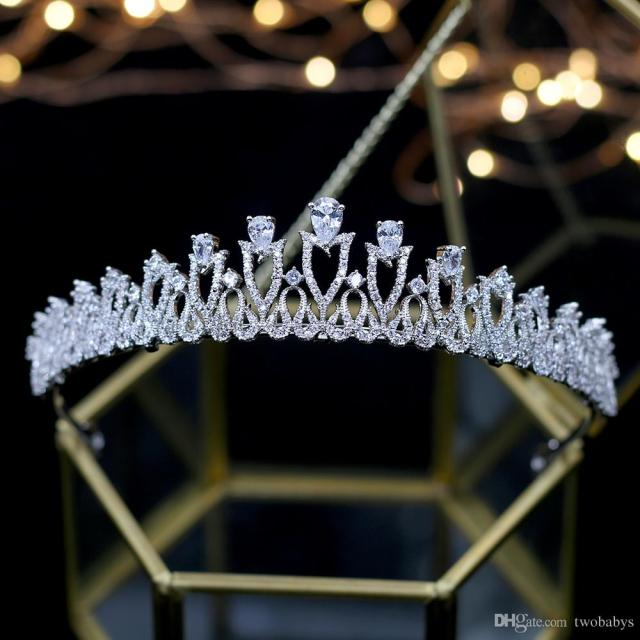 simple clear shinny zircon brides crowns tiaras silver wedding hairbands plated crystal wedding hair accessories party headwear
