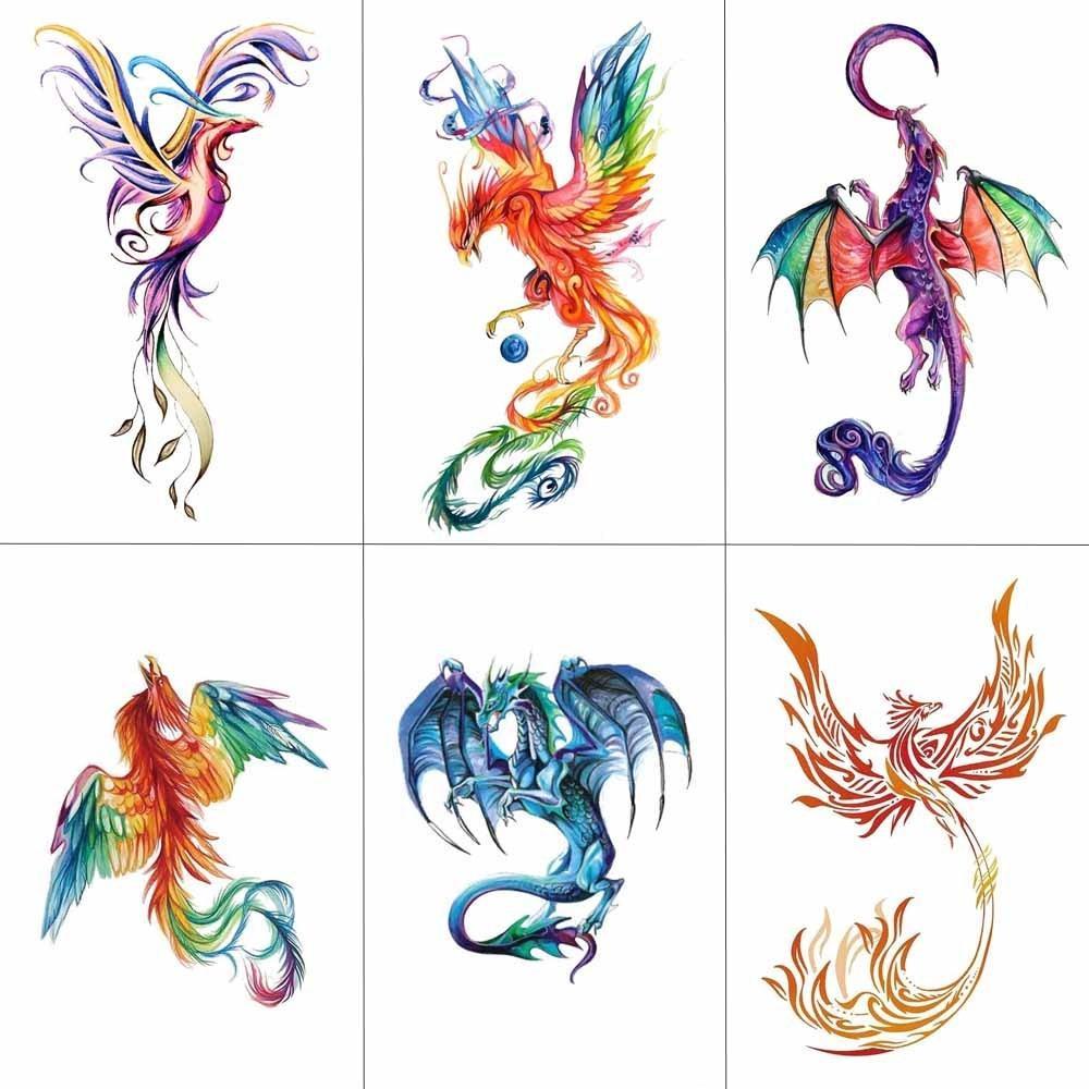 Tcool Acuarela Colorida Phoenix Dragon Tatuajes Temporales Para