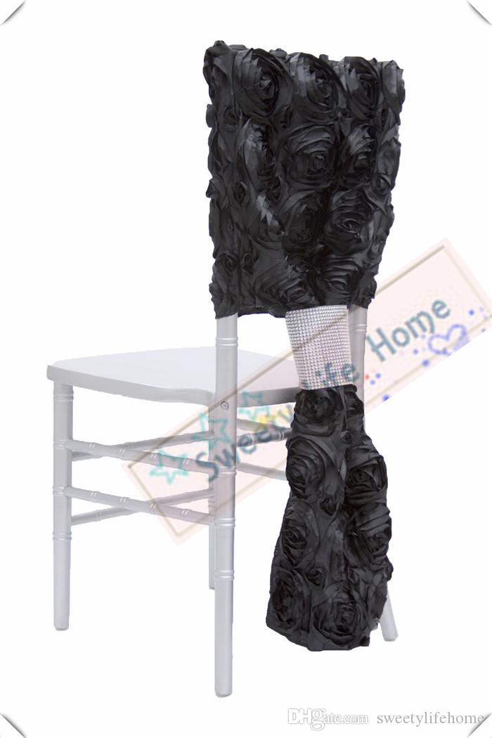 outdoor chair covers for sale plastic chairs walmart black 3d satin rosette chiavari wedding banquet polyester caps rose seats slipcovers recliner sofa