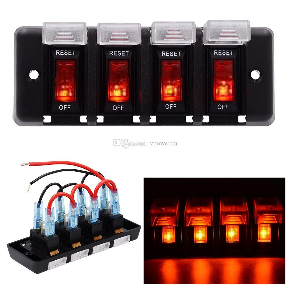 hight resolution of 4 gang led rocker switch panel fuses circuit breaker for 12v car rv marine boat b00645 switch panel electrical equipment led switch panel online with